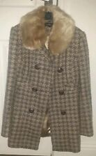Topshop Dogtooth Thick Lined Coat Fur Trim Size 8