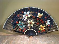 "Antique Handpainted Florals With Wood & Fabric Handheld Fan 16"" Wide"