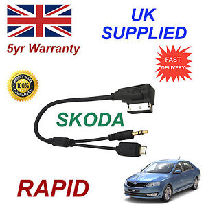 Skoda RAPID Audio Cable For HTC LG BLACKBERRY SONY NOKIA Micro & AUX 3.5mm