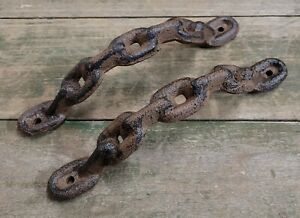 2 Large Cast Iron Antique style CHAIN Barn Handle, Gate Pull, Shed Door Handles