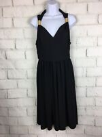 Maggy London Black Stretch Travel Knit Empire Waist Gold Straps Dress Size 10