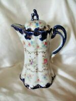 Antique Hand Painted Porcelain Chocolate Cobalt Floral Design 5 Point Star Mark