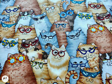 New listing Cats With Eyeglasses 100% Cotton Quilting Fabric Allover Print. New. 29 Inches.
