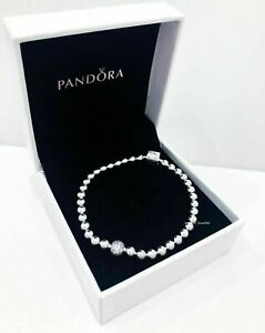 Genuine PANDORA Sterling Silver BEADS & PAVE BRACELET - RRP £60 S925 ALE .
