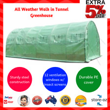 All Weather Galvanised Steel Tunnel Walk in Greenhouse 6x3x2M PE cover
