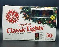 Vintage GE String-A-Long Classic Christmas Lights 50 Outdoor Light Set WORK