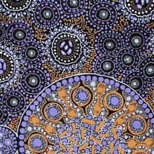 AUSTRALIAN ABORIGINAL ART  FABRIC - FRESH LIFE AFTER RAIN PURP  Buy metres by FQ