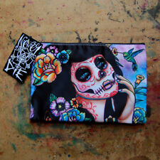 Sugar Skull Girl With Flowers and Bird Art Cosmetic Bag Small Clutch Makeup Case