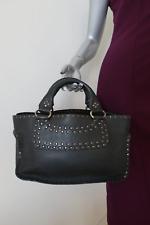 Celine Boogie Bag Black Studded Leather Satchel Top Handle Tote
