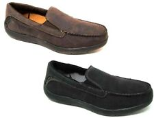 MENS MOCCASINS FAUX SUEDE MEMORY FOAM LOAFERS INDOOR OUTDOOR SLIPPERS SHOES