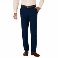 HAGGAR Luxury Comfort Casual Pants Slim Fit 4 Way Stretch Flex Waist Navy Blue