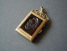 Antiker Anhänger Foto-Medaillon vergoldet+14 kt Öse Karneol geschnitzt & Onyx