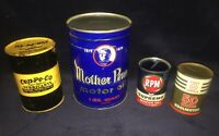 4 Vintage Motor Oil Can Banks Cen-Pe-Co, Mother Penn, RPM, Cities Service