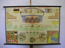 Belles anciennes écoles carte Bade-Wurtemberg 117x79cm VINTAGE MAP ~ 1959