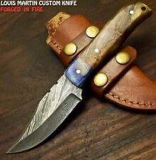 Louis Martin Custom Handmade Damascus Steel Walnut Wood Hunting Skinner Knife