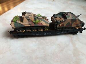 Roco Schwerlast Flachwagen mit Roco Minitanks Panzer Wehrmacht