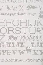 Anthropologie Needlework Alphabet Wallpaper Back White Patterned Letters Animals