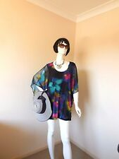 BEME MULTI COLORED TOP SIZE 16 TO 18  WITH FREE PEACOCK HOOK EARRINGS