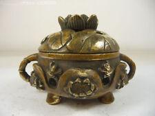 superb china old collectible copper handwork incense burner carved frog