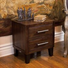 Brown Mahogany Solid Wood Two Drawer Nightstand