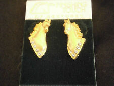 FINISHING TOUCH KENTUCKY DERBY HORSE EQUESTRIAN PIERCED EARRINGS GOLD CRYSTALS