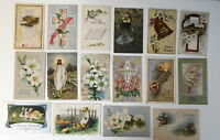LOT OF 32  EASTER GREETINGS ANTIQUE  POSTCARDS RABBITS CHICKS EGGS  ETC