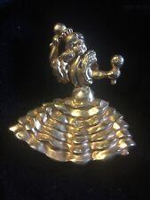"Beautiful Vintage Flamenco Dancer Gold Tone Brooch 2.5"""