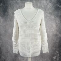 MINT VELVET White Striped Ribbed Long Sleeve Jumper UK Size 12
