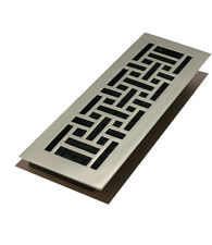 "Brushed Nickel 4""X12"" Contemporary Oriental Design Floor Register- Decor Grates"