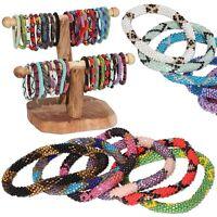 Laura,Nepal Bracelet Glass Seed Bead Roll On Crochet Nepal Handmade Bracelets