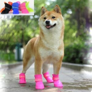 pet dog rainshoes four silicone antiskid boots waterproof dogs shoes candy color