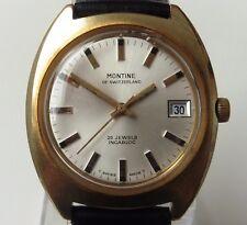 Superba Gents anni 1970 Swiss GP MONTINE 25J automatico come 1913 Data Orologio REVISIONATA