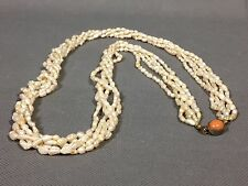 """Vintage Multi-Strand Fresh Water Rice Pearl 5 Strand Necklace 32"""" Long"""