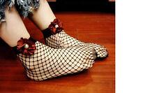 Women Lady Girl Retro Black Fancy red flower Ankle Fishnet net mesh Short Socks