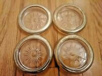Lot of 4 Vintage Silver Plated & Glass Bottle & Glasses Coasters, Made in Italy,