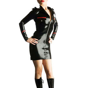 100% Pure Latex Rubber Black&Red Sexy v-neck slim dress Front zip Uniforms 0.4mm