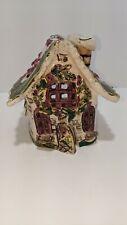 2003 Blue Sky Clayworks Holly Berry House Christmas Tea Light Heather Goldminc