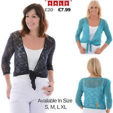 Womens SEE THROUGH Lace 3/4 Sleeve Ladies Cardigan Bolero Just Elegance Shrug