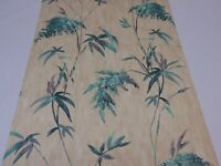 VTG DOUBLE ROLL WALLPAPER GRACE LEWIS ALMOND & GREEN FLOWERS FLORAL VINES ASIAN