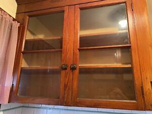 Vintage Kitchen Set Glass & Chestnut  Cabinet Doors & Hardware