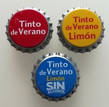 3x Spain Unused Bottle Cap La Casera Tinto de Verano Wine Drink Kronkorken Chapa
