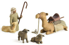 Willow Tree Shepherd and Stable Animals, Sculpted Hand-Painted Nativity Figures