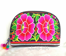 Make up Cosmetic Travel Bag Handmade Embroidered Multicolored Floral