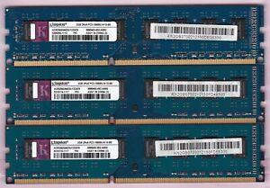 6GB 3x2GB PC3-10600 DDR3-1333 KINGSTON ACR256X64D3U1333C9 Ram Memory Kit BLUE