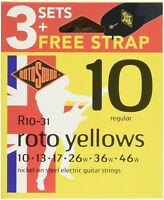 New Rotosound Nickel Plated Electric Guitar Strings x 3 Sets & Strap R10-31