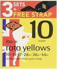 Nouveau ROTOSOUND NICKEL cordes pour guitare électrique x 3 Jeux & Sangle R10-31