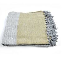 100 % Cotton Sofa Bed Grey & Yellow Throw Blanket 130 x 150 cm by Indra