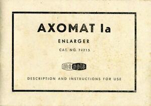 Meopta Axomat 1a Enlarger Instruction Manual Original