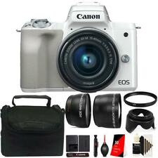 Canon Eos M50 Mirrorless Digital Camera + 15-45mm Lens White Accessory Kit