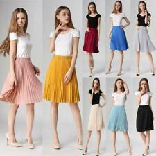 Womens Chiffon Elastic Stretch High Waist Skater Flared Pleated Swing Midi Skirt